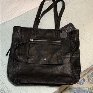 NWT Anthropologie Day & Mood Leather Tote black